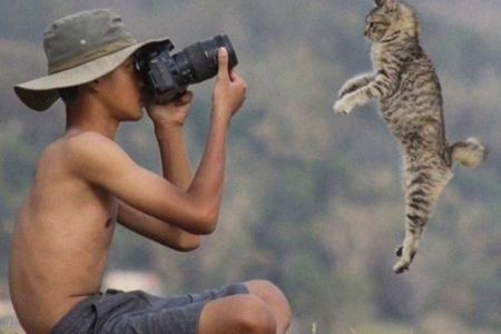 boy with lumbar hump and cat